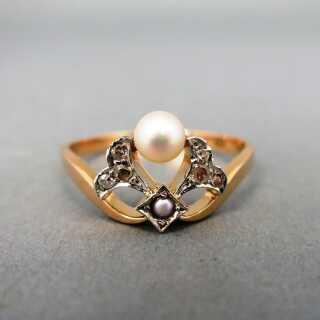 Jugendstil Damen Ring In Gold Mit Perlen Und Diamanten 45000