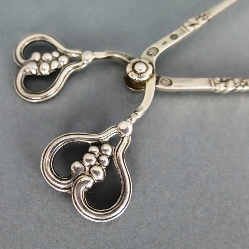 Art Deco Florale Zuckerzange In Silber Von Georg Jensen 22000