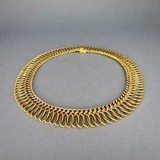 Precious wide collar shaped collier woven from massive 18 k gold wire
