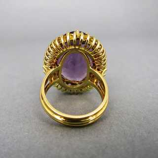 Precious gold ring with a huge oval amethyst stone hand made unique piece