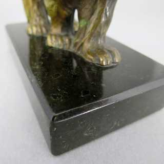 Antique animal figure of polar bear cast in Vienna bronze on a serpentine base