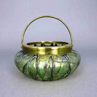 Art Nouveau hand blown glass bowl with brass mounting and handle Kralik Bohemia