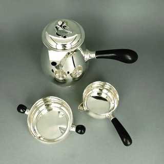 Art Deco mocha set in silver and ebony Johannes Siggaart Denmark