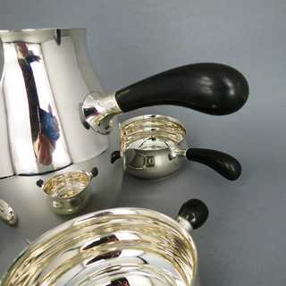 Art Deco mocha set in silver and ebony Harald Nielsen for Georg Jensen Denmark