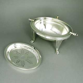 Antique turnover becon dish on high feets silver plated Thomas Bradbury Sheffield