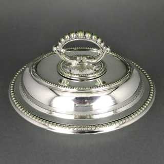 Antique smal oval silver plated entrée dish with lid England 1900