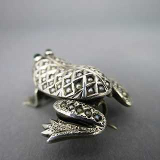 Antique Art Nouveau frog brooch in silver with pearls Austria Vienna 1900