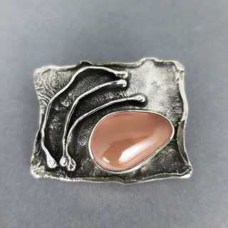 Vintage designer brooch and pendant in sterling silver with huge rose quartz
