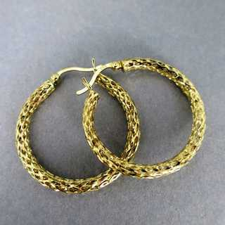 Elegant open worked woven creole earrings for woman in gold