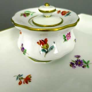Antique writing set in porcelain Manufaktur Meissen floral decor before 1945