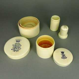 3 antique ivory vessels turned with monogram and crown made before 1900