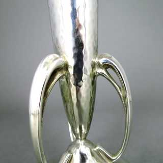 Antike Art Deco Vase in 925 Silber mit Martelé Hammerdekor London 1927