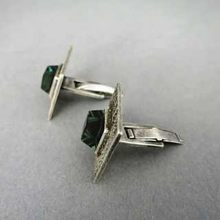 Unique handmade geometrical Art Deco cufflinks in silver with green spinel