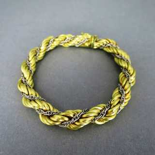 Wide rope chain woman bracelet in yellow and white 18 k gold from Italy