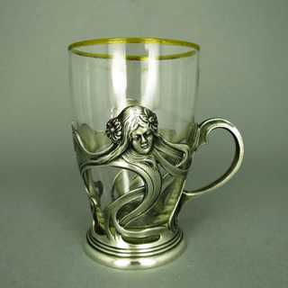 Antique Art Nouveau tea glass with pewter holder  WMF Theodor Radivon Bucharest