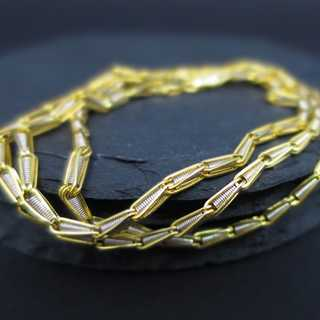 Unusual chain necklace in 14 k yellow and white gold MIDAS CHAIN manufactory USA