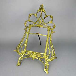 Antique late victorian stand picture frame in gold plated brass