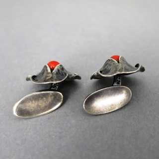 Abstract Art Deco cufflinks in hammered silver with red coral hand made