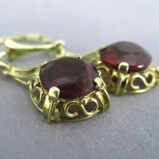 Dangling earrings in gold with red tourmaline Wilhelm Müller Germany 30s 40s