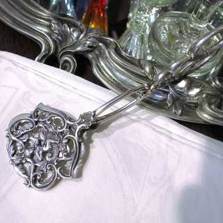 Antique Jugendstil cake tongue in silver with sea god and dolphin Bruckmann