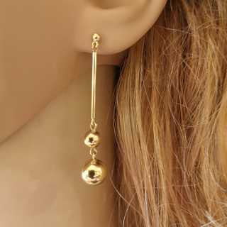 Elegant long golden stud earrings with polished balls