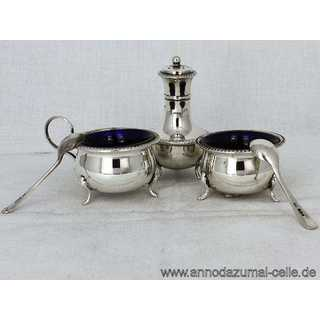 Antique silver and glass spice set in box