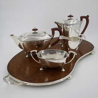Special Art Deco tea set with original wooden tray around 1920