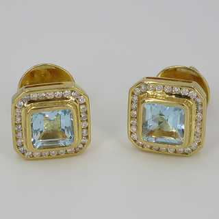 Pretty stud earrings with aquamarines and diamonds in 750 / - gold handmade
