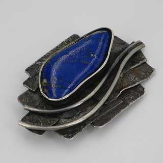 Modernism silver pendant handmade with lapis lazuli around 1955