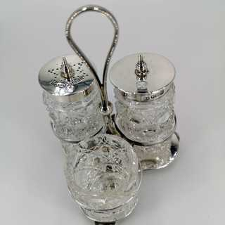 Antique three-pass cruet in sterling silver and crystal glass from 1904