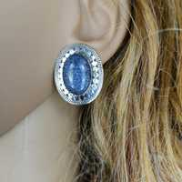 Large oval earrings in sterling silver with lapis lazuli...