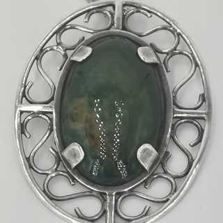 Large pendant in silver with moss agate and a long chain