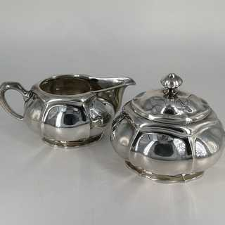 Art Nouveau milk jug and sugar bowl in solid silver, handmade