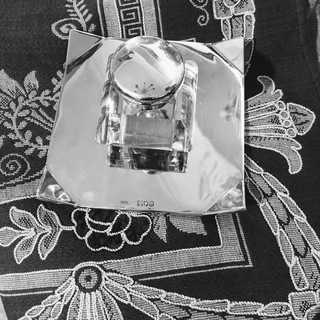 Rare inkwell in sterling silver and crystal glass from 1899