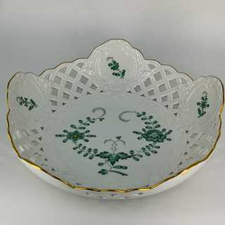 Antique porcelain bowl Indian green from Meissen
