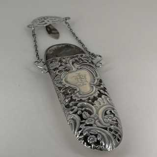 Glasses case in silver and leather with Chatelaine belt clip from 1911