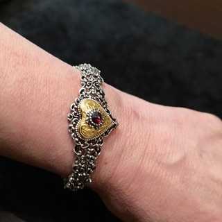 Bangle in silver and gold with tourmaline trimmings