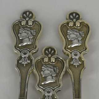 Set of mocha spoons with goddess Diana in silver and gold around 1880
