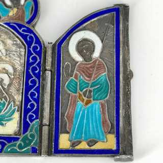 Travel icon as a triptych in silver and enamel Moscow 1876