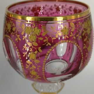 2 wine glasses Josephinenhütte Silesia stained raspberry red with air filigree