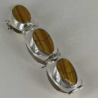 Taxco Mexico silver bracelet with tiger eye