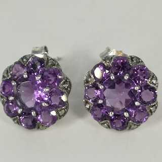 Enchanting earrings in 925 silver with amethysts