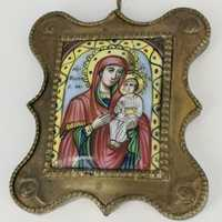 Russian icon Maria with child. Central Russian enamel...