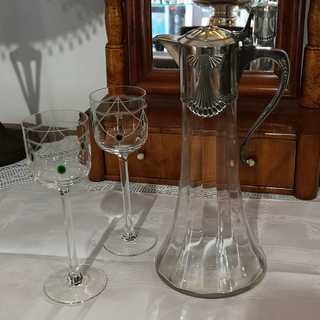 Art Nouveau carafe from WMF with the ostrich brand
