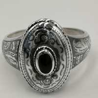 Antique silver niello ring with onyx