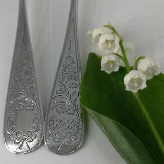 8 silver dessert spoons with lily of the valley engraving from around 1910