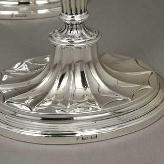 Vintage pair of candlesticks in sterling silver 925 / -