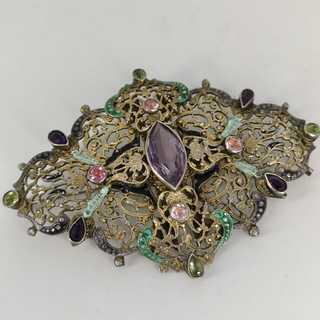 Large openwork brooch in gilt silver around 1850