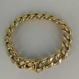 Solid womens or mens armored bracelet in 585 / gold