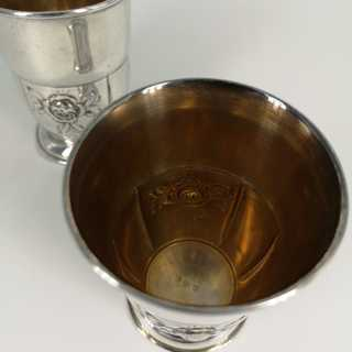 Rare pair of antique silver cups from the Viennese Jugendstil